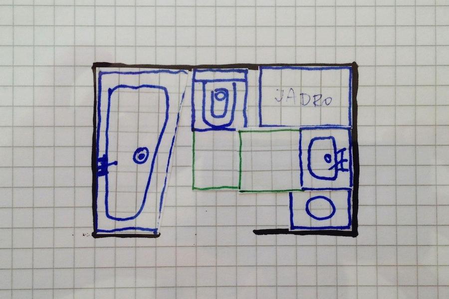 Prerobené kúpeľňové jadro s vaňou
