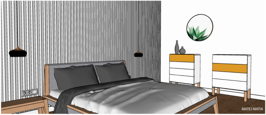 Matej Matia: spálňa bez skrine - návrh číslo 1